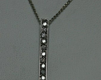 Classy Diamond Bar Necklace with 16 inch cable chain 14K white gold,
