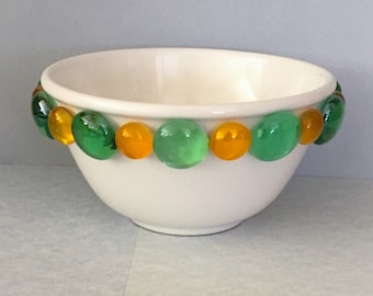 Upcycled bowl, serving bowl, Packers bowl, beaded bowl, dip bowl, condiment bowl, decorative bowl, green bowl, gold bowl, nut bowl