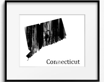 Connecticut State Map Watercolor Black and White Art Print (786) Constitution State Nutmeg State Provisions State, New England United States