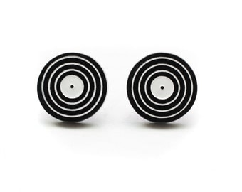 Black Acrylic Vinyl LP Record Stud Earrings