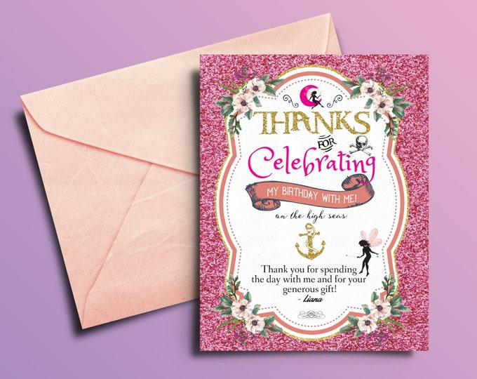 Fairy, Pixie, thank you card, Pirate and Princess Birthday Invitation, Princess and Pirate invitation ,Twins birthday, pixie