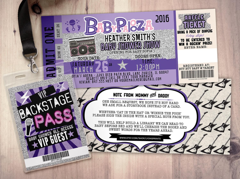 ROCK STAR Concert Ticket Baby Shower Invitation Coed Baby Shower Invitation   Rock Baby Shower Invitation  Couples Baby Shower   Lollapalooza