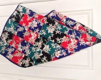 Hawaiian Baby Blanket - Quilted - Blue - Red - Green - Black - Handmade