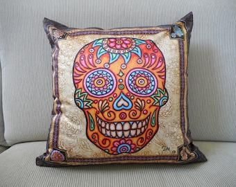 "Sugar Skull Accent Pillow Cover, Decorative Pillow, Sugar Skull Art, 18""x18, Dan Morris, ,Day of the Dead, Home Decor Pillow Cover Insert"