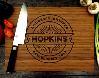 Personalized Cutting Board, Custom Wedding Gift, Anniversary Gift, Housewarming Gift, Christmas Gift, Chef Gift, Badge Monogram