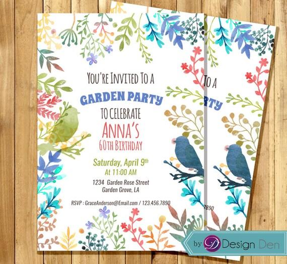 garden party invitation birthday invitation for woman water. Black Bedroom Furniture Sets. Home Design Ideas