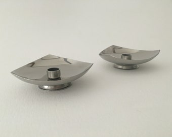 Mid Century Modern Vintage Lundtofte Danish Stainless Steel Candle Holders. Made in Denmark.