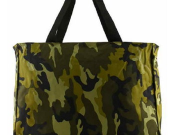 Canvas Camouflage Army Green Tote Bag