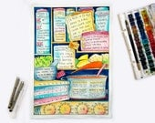 The Cook's Kitchen (made to order with customised recipes), hand painted watercolour cooking conversions chart