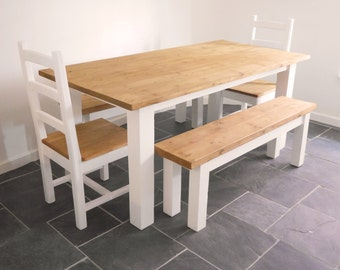 Rustic Dining Table, 2 benches and 2 Shaker-style chairs