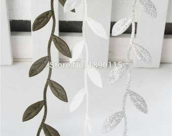 15 Red Gold Green Silver White LEAF Leaves Leaf Applique Sew On Flower Patch 1 Inch Wide
