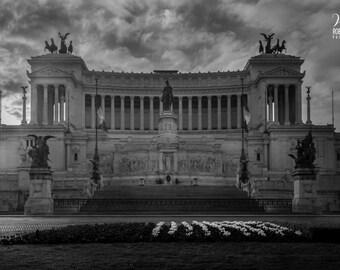 Black and white photography of Rome, The Altare della Patria in Piazza Venezia, Photo of Rome, Italy, photo of the center of Rome