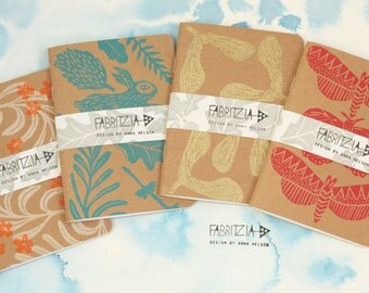 A6 printed notebook, handmade notebook, block printed, stamping, blank paged sketchbook,