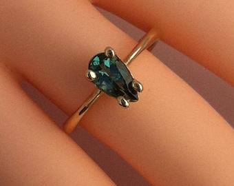Tourmaline Pear Gemstone Gold Ring