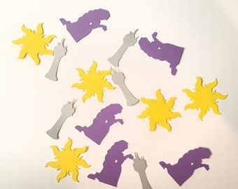 Tangled table confetti sun rapunzel tower purple yellow gray 100 pc party 1.5 inches paper cardstock