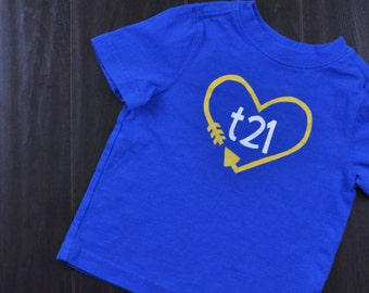 "Down Syndrome Awareness Shirts ~ Girls and Boys, Royal Blue T-shirt with Yellow and White ""T21"" Logo with Arrow Heart"