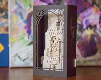 Easter Card, Prague Astronomical Clock Card, Easter greeting card, Easter Prague, Easter gift idea, Easter handmade card, Orloj, craft, art