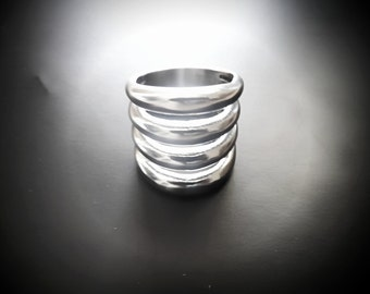 Wide Punk Style Statement Ring - Stainless Steel