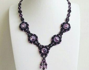Bib necklace, Swarovski necklace, statement necklace, holiday jewelry, victorian, black violet, chic, beaded necklace, gift,