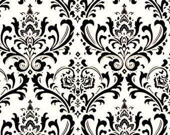 SALE Traditions Black and White Damask Home Decor Fabric by Premier Prints