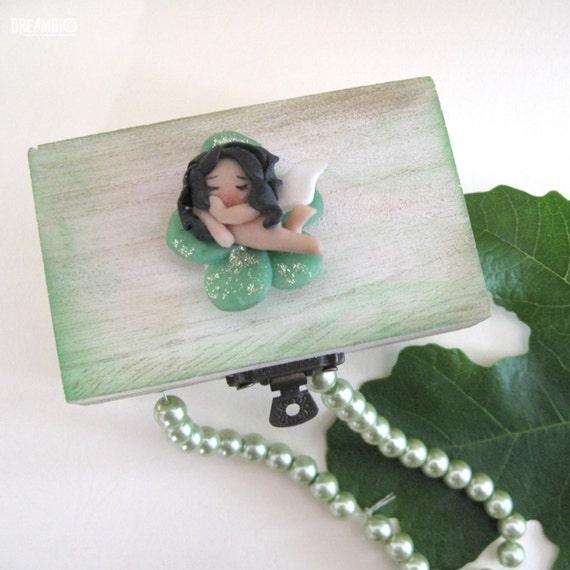 Sleeping fairy on a wooden box, Polymer clay fairy, Miniature fairy, green fairy, Jewelry box OOAK