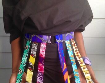 Adjustable belts in African wax prints