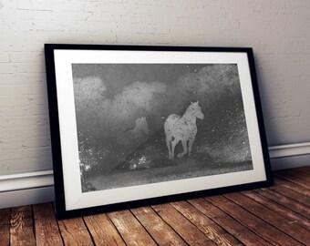 Abstract Horse Photography Print, Running Horses, Horse Art Print, Wild Horses