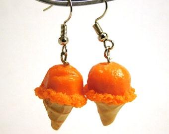 Orange Sherbet Earrings, Miniature Food Jewelry, ice cream cone