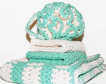 Crochet Bath Set, Crochet Spa Set, 100% Cotton, Crochet Dish Cloth, Dish Towel, Wash Cloth, OCEAN GREEN