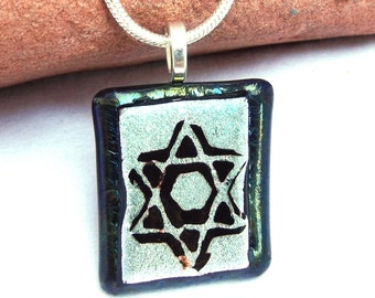 Jewish Star of David dichroic pendant. Silver etched dichroic Magen David fused glass necklace. Silver, black Jewish Star jewelry. Hanukah