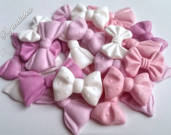 24 Edible sugar ribbons bows cake cupcake toppers valentine day