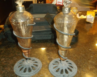 Antique Oil Lamps..Very Unusual...Has Wick...Wrought Iron Holders..Must See