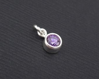 Add a Birthstone Charm Dangle - February Birthstone Charm Sterling Silver, Amethyst Charm CZ Dangle,  Bezel Gemstone