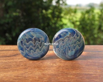 "Exotic Dark Blue Color Front Glass Plug 14g 12g 10g 8g 6g 4g 2g 0g 00g 7/16"" 1/2"" - 1"" 1.6 mm 2 mm 2.5 mm 3 mm 4mm 5 mm 6 mm 8 mm - 25 mm"