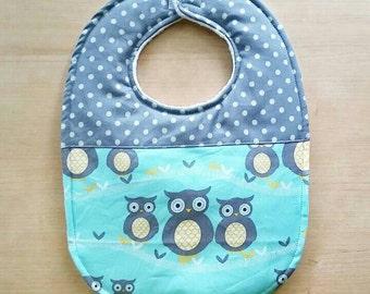 Owl and Polka Dots Baby Bib