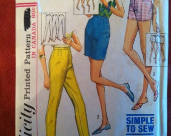 1965 Simplicity 5973 Pattern Shorts and Slacks in Porportionned sizes 1965