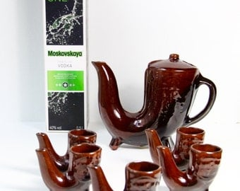 """Original Vintage beautiful porcelain Vodka set with """"Pipe Shaped"""" from Soviet Union - Belarus- Made in USSR - 1960's."""