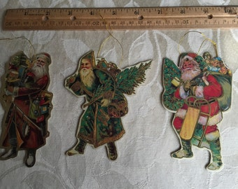 Vintage Santa Claus Christmas tree ornaments, set of 3