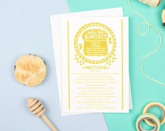 Welsh Rarebit Card - Welsh Birthday Card - Welsh Gift - Welsh Souvenir - Gift for Food Lovers - Gift for Cooks - Welsh Food