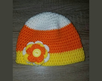 Children's Crocheted Candy Corn / Halloween Hat