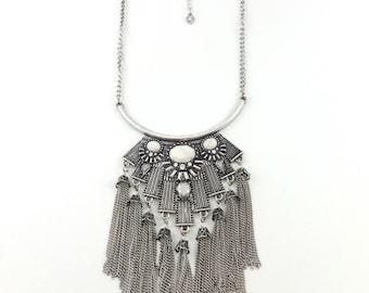Fringe silver Statement necklace, boho necklace, bohemian necklace, gypsy necklace, tribal necklace, bib necklace, vintage necklace.