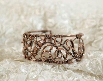 Yvianel - copper wire wrapped bracelet, elves bracelet, magical, elvish, talisman of love, wire wrap, handmade