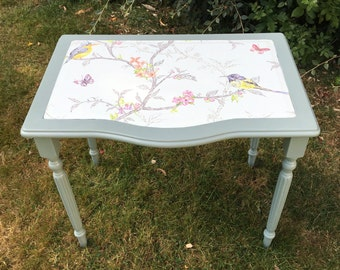 Upcycled Vintage Pretty Duck Egg Blue Decoupaged Bird Side Table
