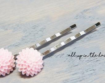 Pink Mum Flower Bobby Pins - Pink Hair Accessories
