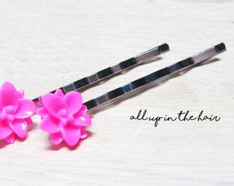 Flower Bobby Pins - Pink Lily Bobby Pins - Pink Hair Slides - Flower Hair Slides