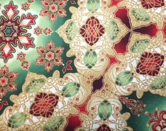 Robert Kaufman RED GREEN & GOLD Medallion Premium Quality 100% Cotton Fabric - per 1/2 yd