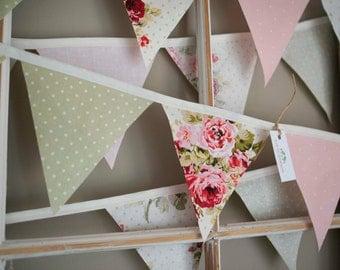 Shabby Chic Bunting, fabric flag banner, fabric banner, pennant flags, fabric pennant banner, nursery decor, nursery banner, bridal shower