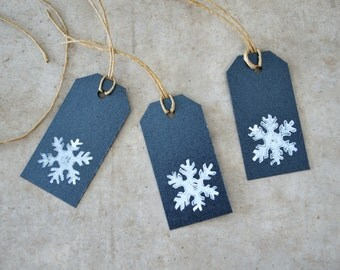 set of 10 gift tags / labels - christmas - handmade - snowflake - stamped