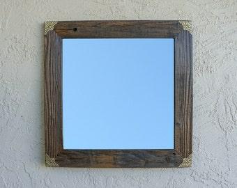 Reclaimed Wood Mirror with Gold Filigree Corners. Rustic Mirror. Eco Friendly. Framed Mirror. Bathroom Mirror. Framed Mirror. Wedding Gift