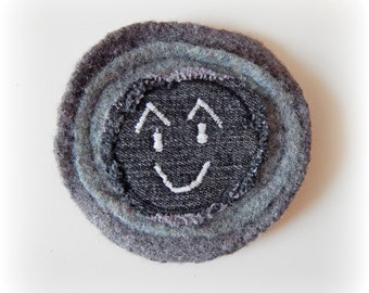 Recycled Felted Badge Large Quirky Smiley Face Emotion Goth Patch Upcycle Denim 100% Wool Brooch Pin Fun Unusual Eco Friendly Gift Accessory